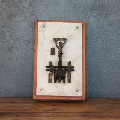 Interruttore elettrico vintage anni 20 in marmo e legno con azionamento metallico
