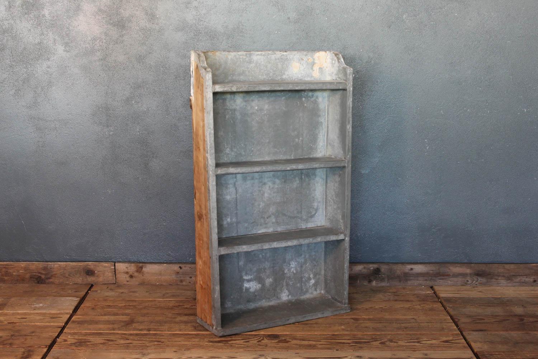 Mobiletto da parete anni '50 in legno e zinco