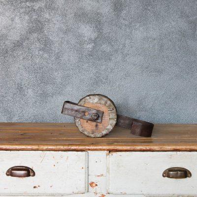 Carrucola in legno e zinco anni 20