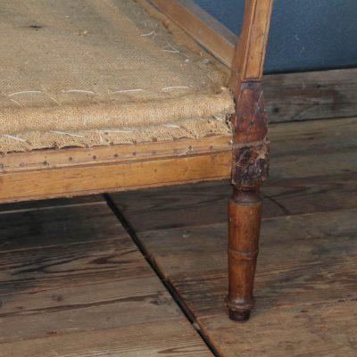 Divano Luigi XVI in legno di ciliegio e iuta